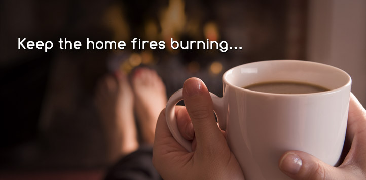 hot coffee in front of the fireplace