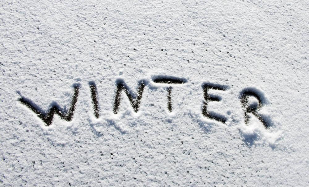winter written in snow